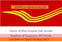 Postal Circle Recruitment 2017–467 Gramin Dak Sevak (GDS)