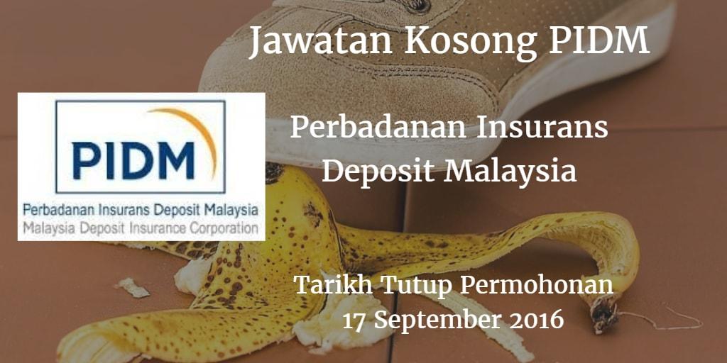 Jawatan Kosong PIDM 17 September 2016