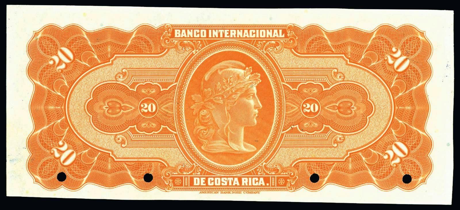 Costa Rica money currency 20 Colones 1936 Banco Internacional de Costa Rica