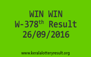 WIN WIN W 378 Lottery Result 26-9-2016