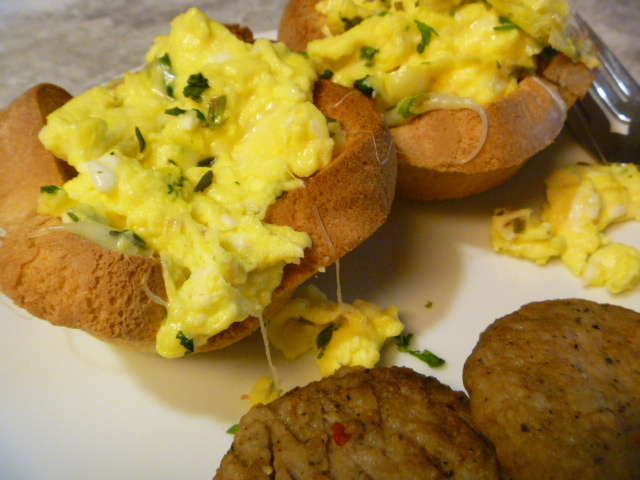 Herbed Scrambled Eggs in Toast Cups - Adorable presentation for any Brunch or Breakfast! - Slice of Southern