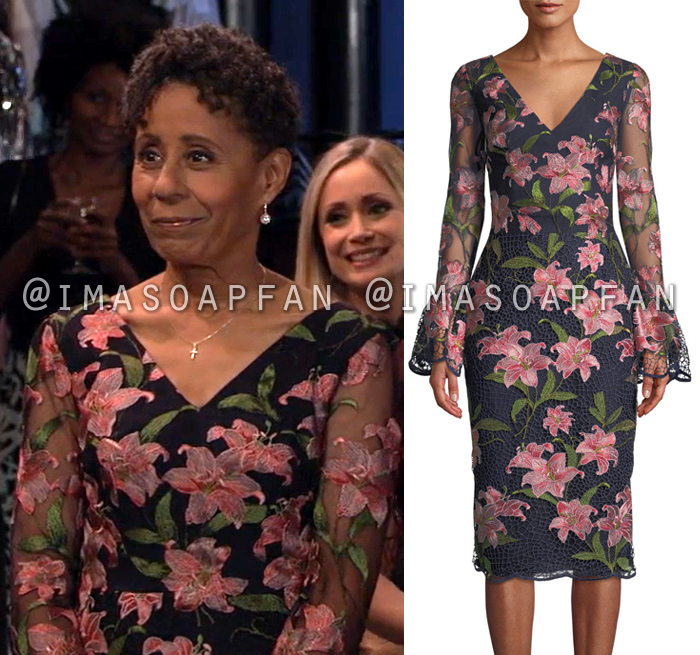 Stella Henry, Vernee Watson, Navy Blue and Pink Floral Embroidered Dress, General Hospital, GH