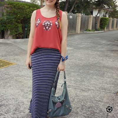 awayfromblue instagram burgundy sequin embellished tank, balenciaga day bag and navy stripe maxi skirt