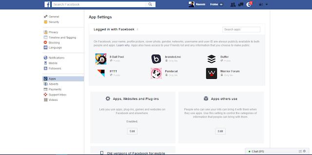 Facebook App Settings here is