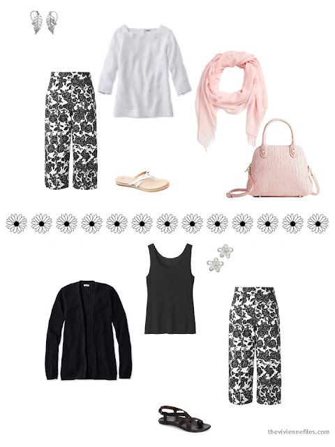 two warm-weather outfits including black and white floral pants