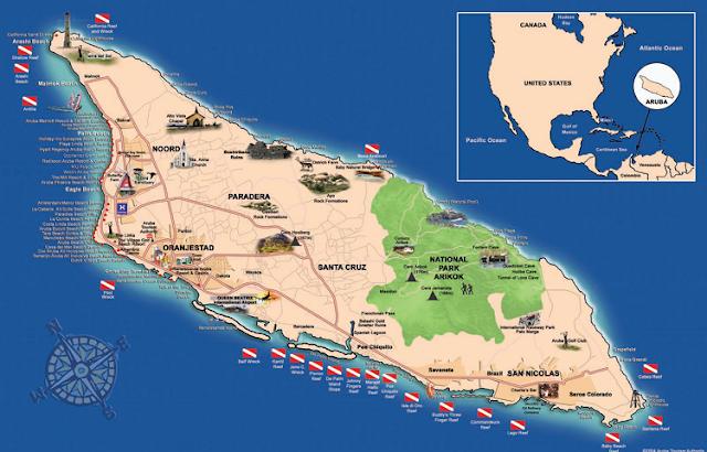 Aluguel de carro em Aruba: Mapa da Ilha