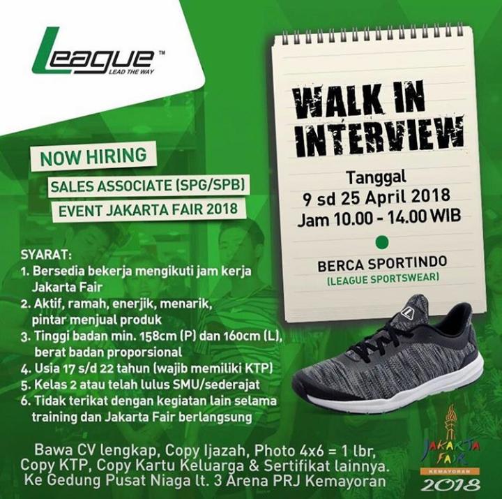 Walk In Interview SPG/SPB Sepatu League Untuk Event Jakarta Fair 2018 Mulai 9 - 25 April 2018