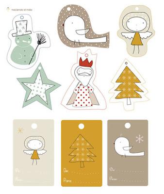 Christmas gift tag Etiqueta Navidad