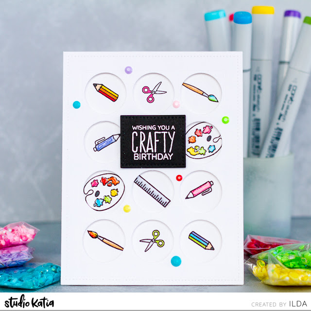 Crafty Birthday Wishes Card for Studio Katia by ilovedoingallthingscrafty.com