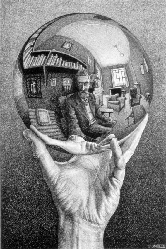 Mão com Esfera Refletora - Escher, M. C. e suas geniais litogravuras