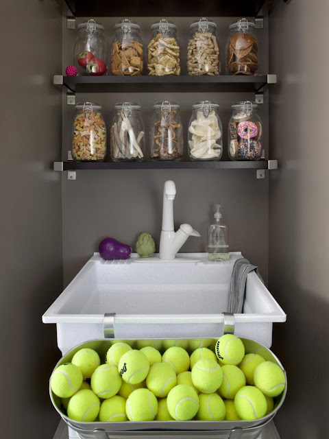 Organized Mudroom with Sink:: OrganizingMadeFun.com