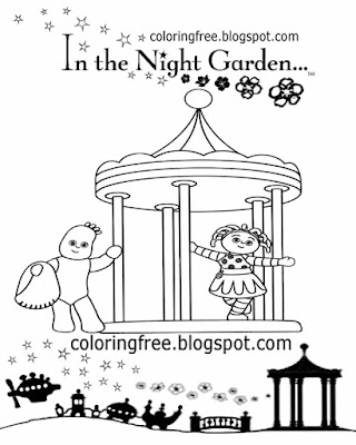 Igglepiggle and Upsy Daisy in the night garden roundabout coloring sheet sketching for learning art