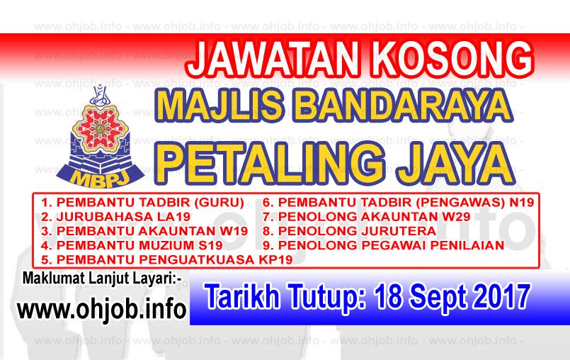 Jawatan Kerja Kosong MBPJ - Majlis Bandaraya Petaling Jaya logo www.ohjob.info september 2017