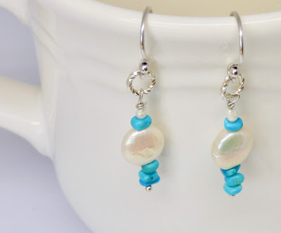 Turquoise and White Freshwater Pearl Earrings by BayMoonDesign