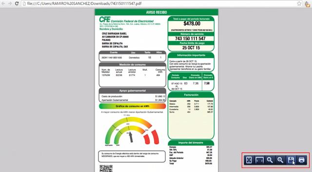 recibo CFE pdf por internet
