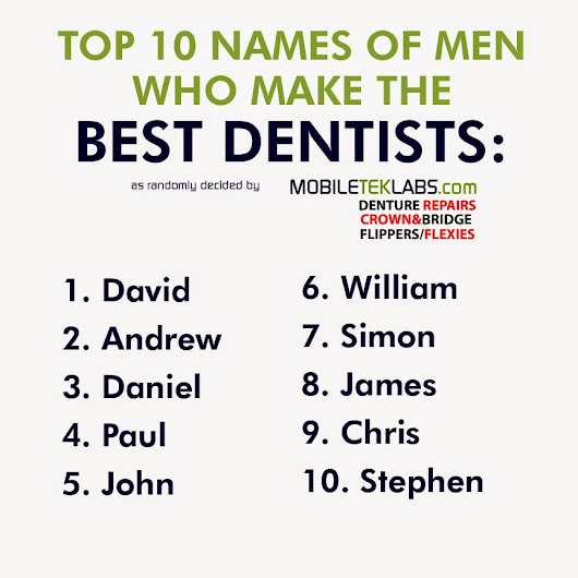 Top 10 names of men who make the best dentists...