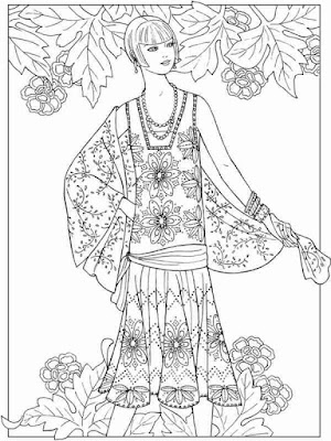 girl in flower fashion adult coloring pages printable