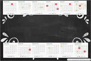 Calendario 2015 para imprimir gratis de Estilo Pizarra.