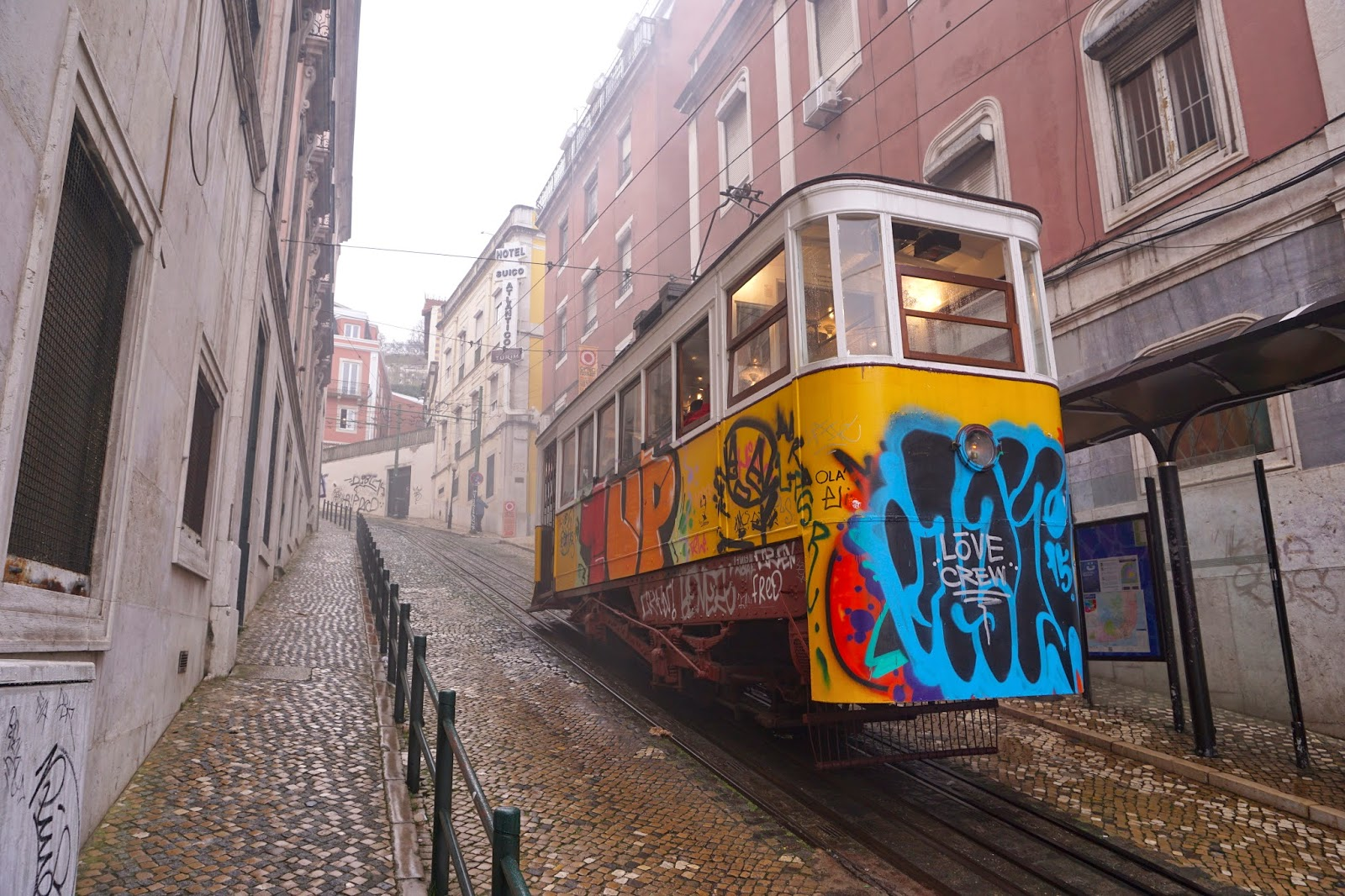 One of Lisbon's iconic steep uphill trams