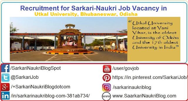 Naukri Vacancy Recruitment Utkal University Bhubaneswar