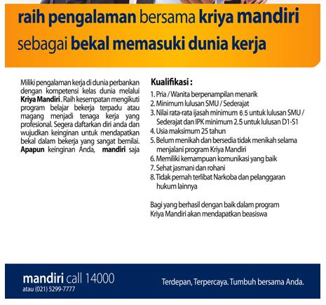 Daftar Lowongan Kerja Bank Mandiri Sumenep Terbaru 2020