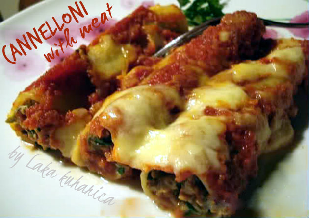 Cheese and meat cannelloni by Laka kuharica: beef, cheese, and spinach-filled pasta with tomato sauce is an absolute classic.
