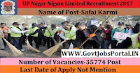 UP Nagar Nigam Limited Recruitment 2017 Notification-For 35774 Safai Karmi Vacancies