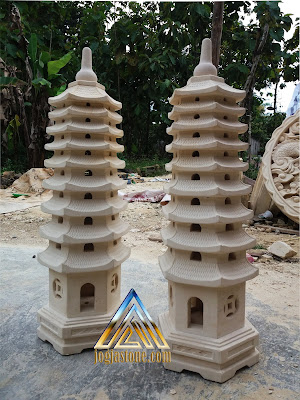 Lampion pagoda dari batu putih / batu alam paras jogja