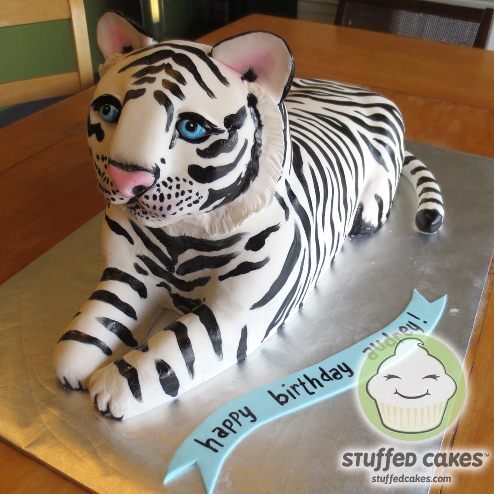 Cartoon White Tiger Cake