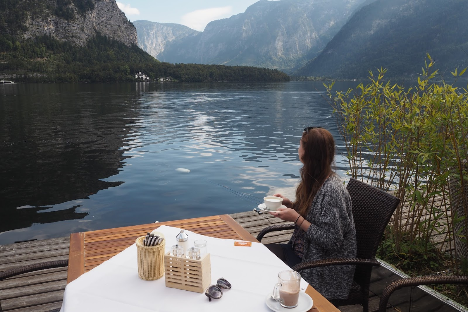 enjoying lunch at Seehotel, Hallstatt