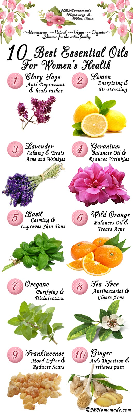 The 10 Best Essential Oils for Women's Health: Clary Sage, Lemon, Lavender, Geranium, Basil, Wild Orange, Oregano, Tea Tree, Frankincense, and Ginger. Why? Read more at JBHomemade