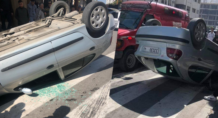 سائق يفقد السيطرة على سيارته في النجمة بطنجة (فيديو)