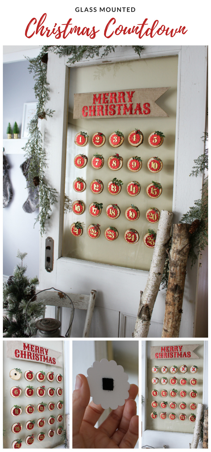 Pretty Christmas advent calendar on glass