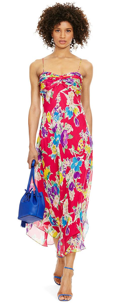 Robe longue en soie rouge à fleurs Polo Ralph Lauren
