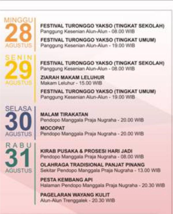 Jadwal Kegiatan HUT RI ke 71 dan Hari Jadi Trenggalek ke 822 Tahun 2016