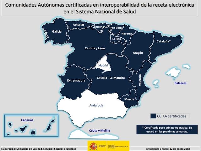 Comunidades Autónomas certificadas en Interoperabilidad de receta electrónica del SNS