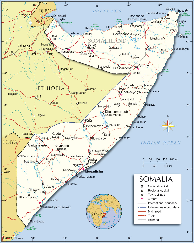 Somália | Mapas Geográficos da Somália