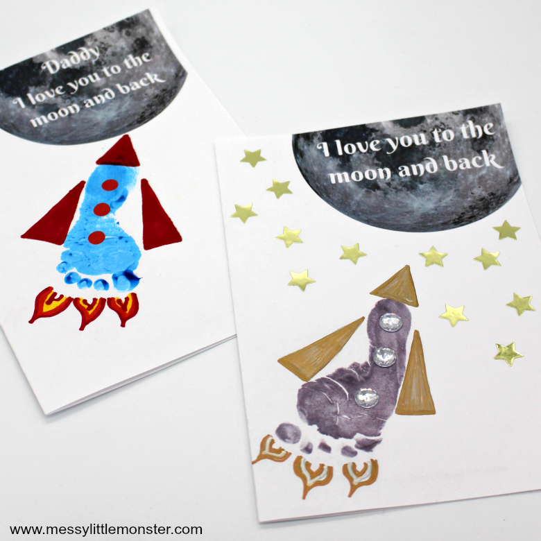 Printable Father's day cards - Footprint rocket craft