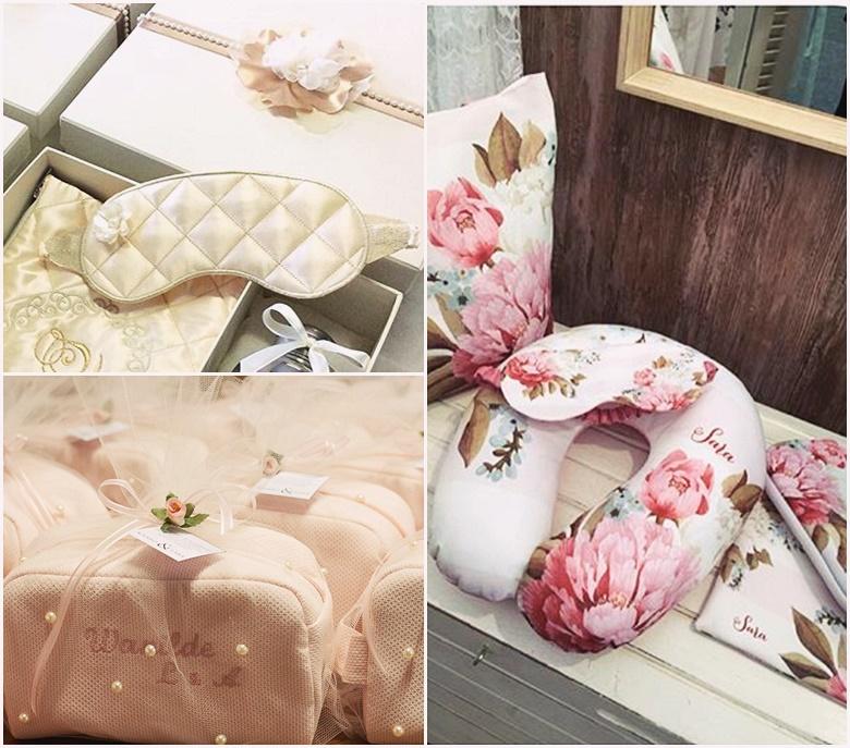 Kit conforto (máscara de dormir + travesseiro de pescoço + necessaire) lembrancinhas ideias madrinhas casamento