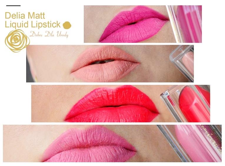 Delia Matt Liquid Lipsticks - matowe pomadki Audrey, Claudia, Sophia, Elizabeth, Marylin i Brigitte na moich ustach :)
