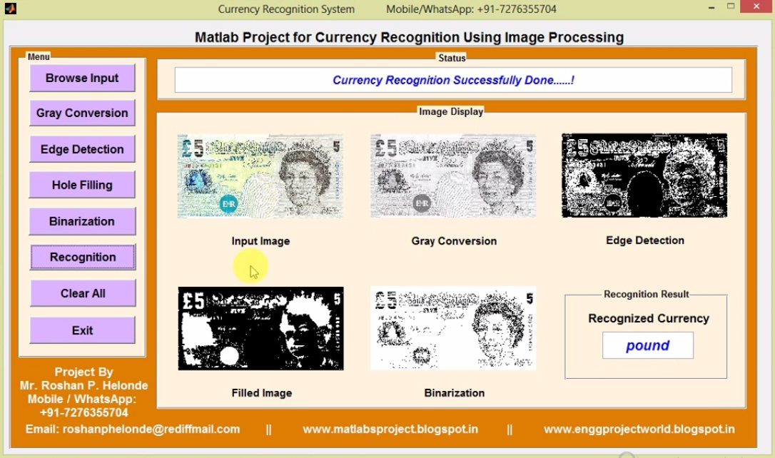 Matlab Project with Source Code Currency Recognition Using Image