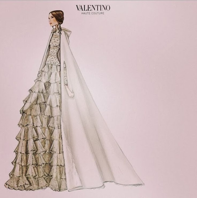 Tatiana Santo Domingo's Wedding Dress Sketch by Valentino