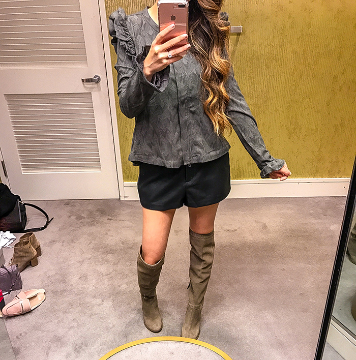 Nordstrom anniversary sale, nordstrom anniversary sale 2017, nordstrom anniversary sale 2017 try on haul, san francisco fashion blog, san francisco style blog, nsale picks, ruffle swing jacket, faux leatther shorts, over the knee boots
