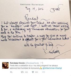 amitabh bachchan send this appreciation note to randeep hooda