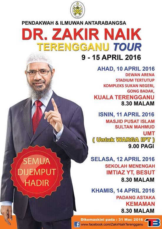 Aturcara Syarahan Umum - Dr Zakir Naik Terengganu Tour 2016