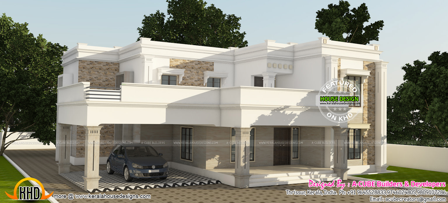 Captivating Luxurious Flat Roof Home Plan