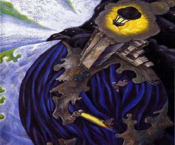 ilustración del cuento Un sueño redondo, de J. C. Chadro, se ve como un planenta, con un gran país, con un edificio y con pequeñas casitas, en una colorido bastante azul