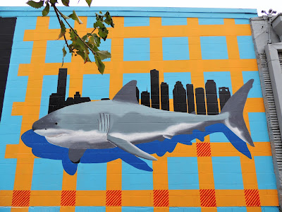 Shark-with-Skyline mural