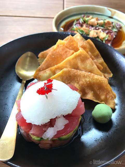 Zushi, Barangaroo: Sashimi tacos - salmon, tuna, avo, yuzu granita, flying fish roe, 20 sesame oil + tamari, wonton crackers
