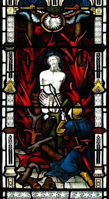 Imagem de São Longuinho perfurando o lado de Jesus Cristo, vitral, #1